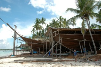 Boat building on the beach.